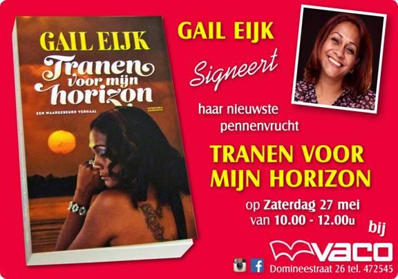 Gail Eijk signeert debuutroman bij VACO in Suriname