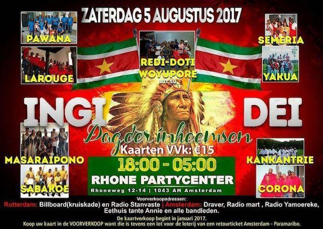 Viering Dag der Inheemsen in Amsterdam