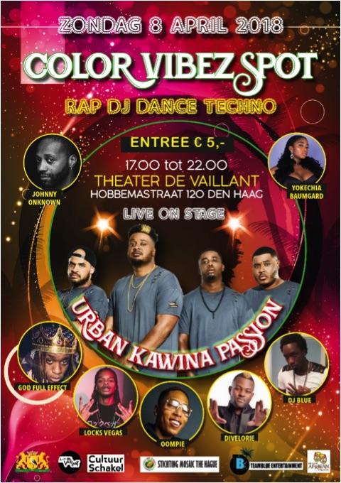 'Color Vibez Spot' zondag 8 april in Theater Vaillant