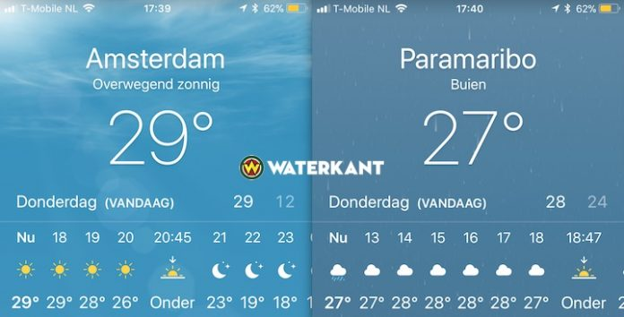 in Nederland warmer dan in Suriname