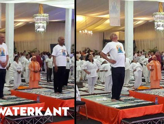 Presidenten van Suriname en India doen mee aan Yoga lessen