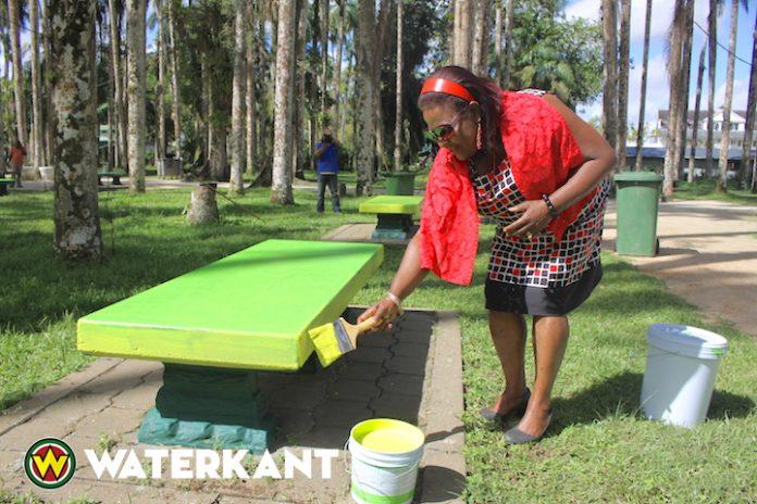 Verfraaiing van de Palmentuin in Suriname