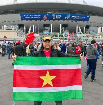 Vlag van Suriname present op WK 2018 in Rusland