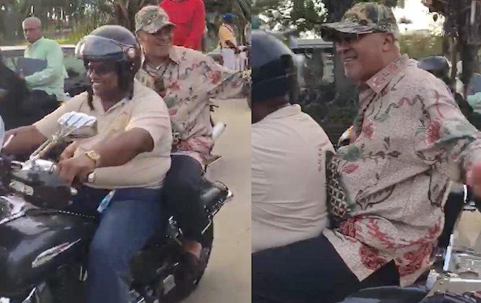 President van Suriname heeft hernia maar springt achterop motorfiets
