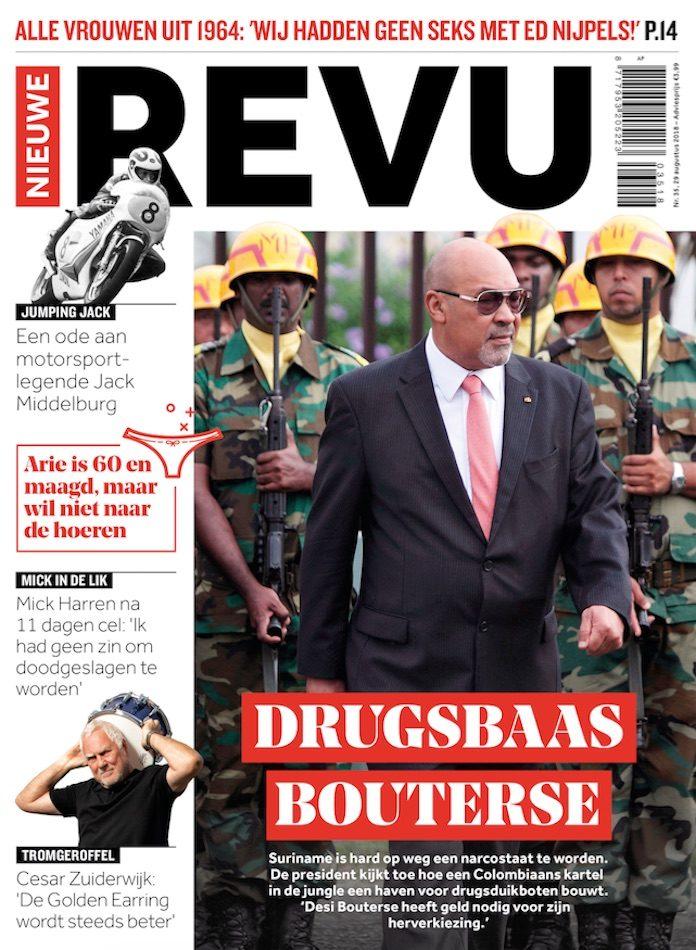 Tijdschrift plaatst president Suriname op cover met titel 'Drugsbaas Bouterse'