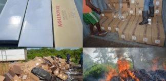 Korps Politie Suriname vernietigd meer dan 600 dozen sigaretten