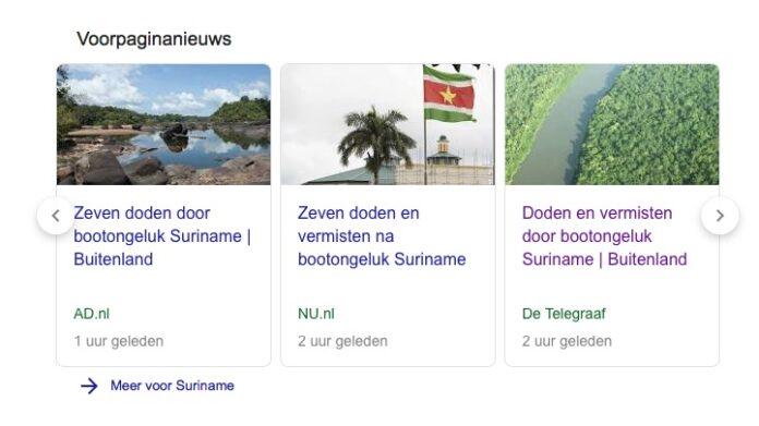 Veel aandacht voor bootongeluk Suriname in Nederlandse media