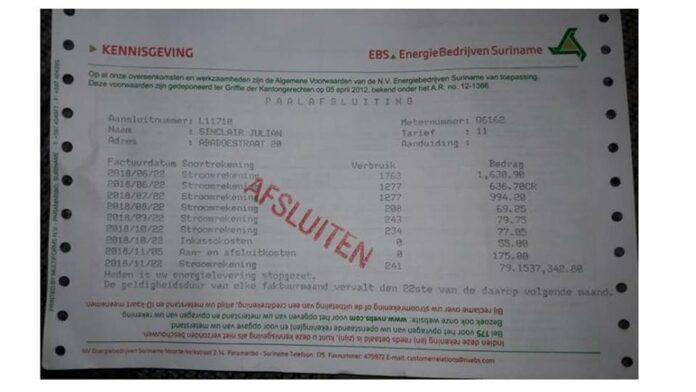 EBS: 'bericht over klant met SRD 80 miljoen stroomrekening is onnodige sensatie