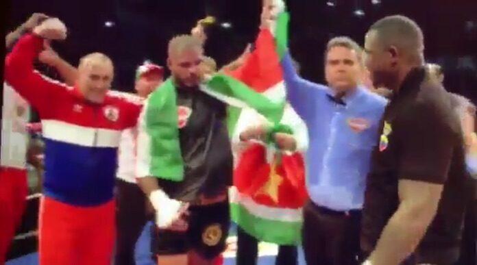 Tyrone Spong breekt hand tijdens gevecht maar wint toch in Suriname