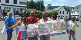 Vreedzaam milieuprotest tijdens HFLD klimaatconferentie in Suriname