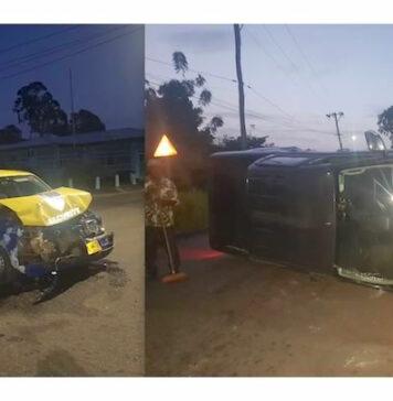 Pick-up op z'n zij na aanrijding met auto van security bedrijf in Suriname