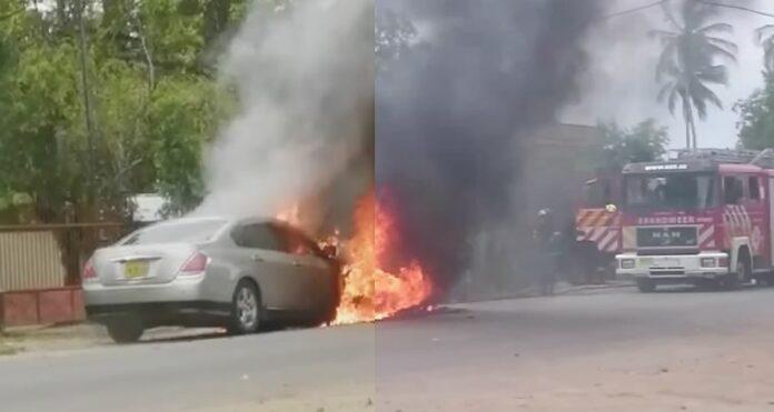 VIDEO: Auto gaat in vlammen op in Suriname
