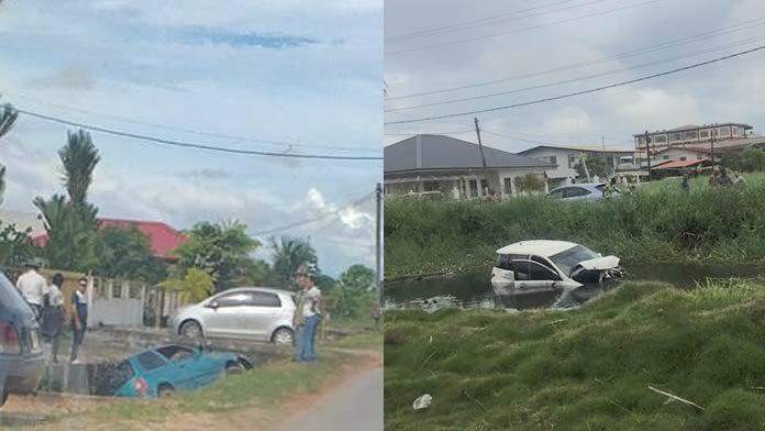 Vandaag maar liefst twee auto's in de goot in Suriname