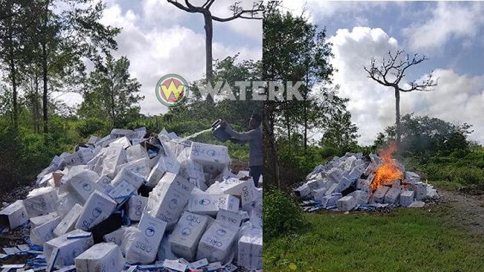 Politie Suriname vernietigd 1.600 dozen gesmokkelde sigaretten
