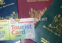 Paspoort Suriname toeristenkaart