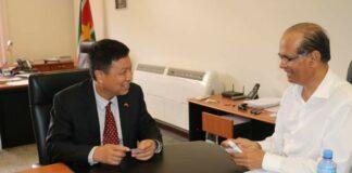 Chinese Ambassadeur in Suriname brengt beleefdheidsbezoek aan minister LVV