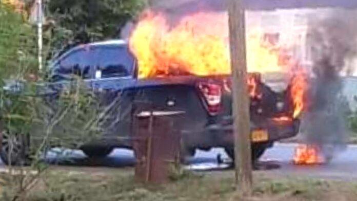 Nieuwe Ssangyong Musso pick-up in brand gevlogen