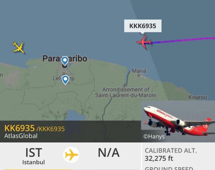 Turks vliegtuig om Bouterse naar China te brengen aangekomen in Suriname