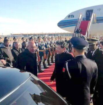 President Bouterse en delegatie aangekomen in China
