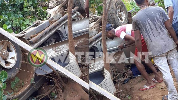 Auto op z'n kop in Commewijne, 3 gewonden
