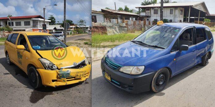 Twee taxi's betrokken bij aanrijding in Paramaribo