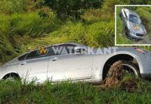 Bestuurder verliest controle over het stuur en eindigt met auto in goot