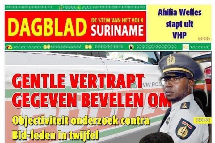 Dagblad Suriname ontkent plaatsen rectificatie over inspecteur Gentle