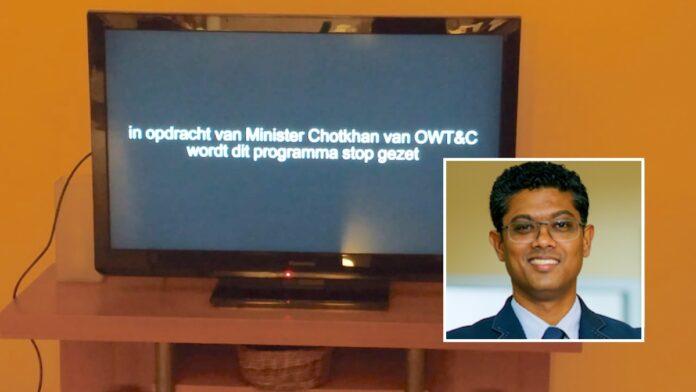 TV programma over peiling verkiezing door minister Chotkan stopgezet