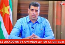 Vice-president bevestigd total lockdown in Suriname tot 12 juni