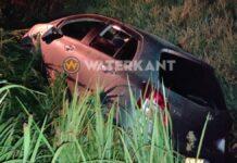 Vrouw met auto in trens gevlogen tijdens achtervolgen partner