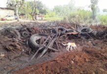 Brand in oude zandput met afvalmateriaal