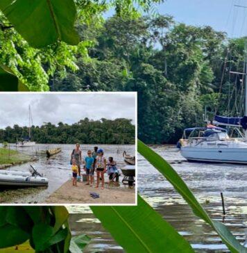 Nederlands gezin met zeilboot in Suriname