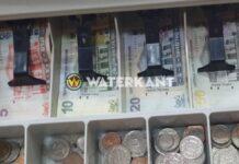 Kassa met geld in Suriname