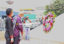 Oud-president Bouterse legt krans bij monument revolutie