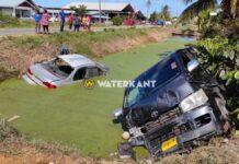 Auto en busje in trens na zware aanrijding