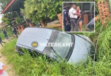 Maisha Neus met auto in goot