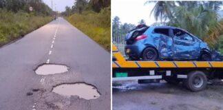 Twee doden nadat automobilist uitwijkt voor kuilen op de weg nabij Coronie