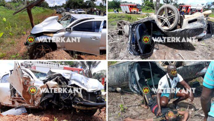 Enorme ravage na verkeersongeval met twee auto's en tankwagen