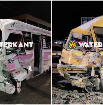 VIDEO: Frontale botsing tussen twee PG-lijnbussen in Paramaribo-Noord