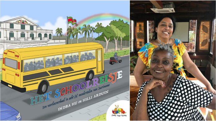Het Schoolreisje, een omkeervoorleesboek in acht Surinaamse moedertalen