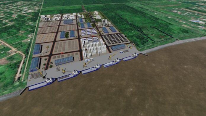 Offshore Support Base (50 ha) geprojecteerd op Suzannasdaal