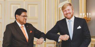 President Santokhi ontmoet koning Willem-Alexander
