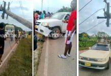 VIDEO: Pick-up knalt tegen EBS paal op Afobakaweg