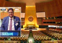 'VN toespraak president Santokhi belangrijk moment voor Suriname'
