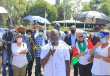 Protest tegen vaccinatie-dwang in Suriname